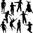 Stock Vector: Children silhouettes