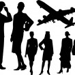 Stock Vector: Stewardess and pilot silhouettes