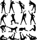 Femme exerçant les silhouettes — Vecteur