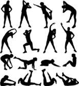 Woman exercising silhouettes — Vecteur