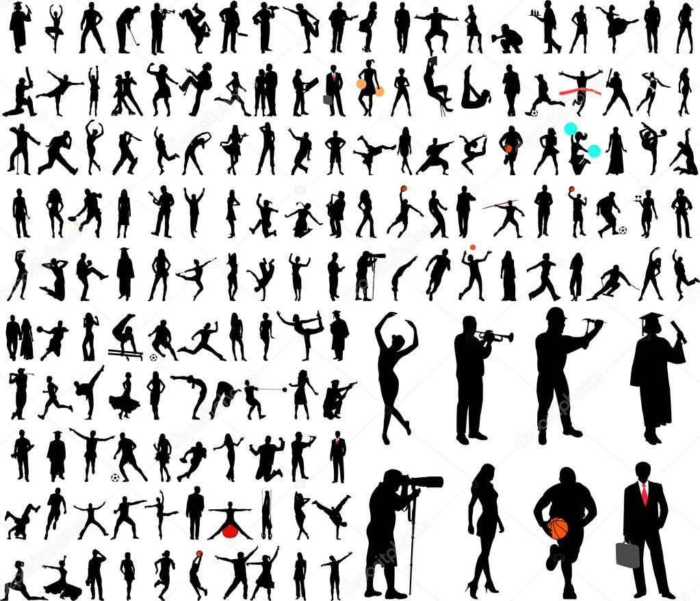 150 high quality silhouettes collection - vector — Stock Vector #2167566