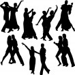 Stock Vector: Dancing couples silhouettes