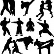 Fighters silhouettes collection — Imagen vectorial