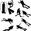 Scuba divers silhouettes - Stock Vector