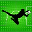 Background with goalkeeper silhouette — Image vectorielle