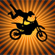 Stock Vector: Stunt biker