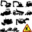 Stock Vector: Construction machines collection