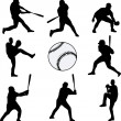 Baseball players silhouettes — Stockvektor
