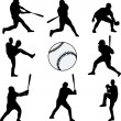 Vector de stock : Baseball players silhouettes
