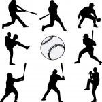 silhouettes de joueurs de baseball — Vecteur