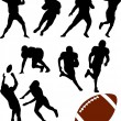 American football silhouettes — Vector de stock