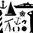 Sailing objects and equipment — Stock Vector