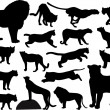 Stock Vector: Wild cats silhouettes