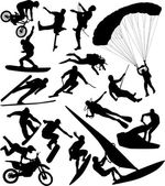 Extreme sports silhouettes — Stock Vector