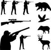 Hunting collection silhouettes — Stock Vector