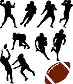 Silhouettes de football américain — Vecteur