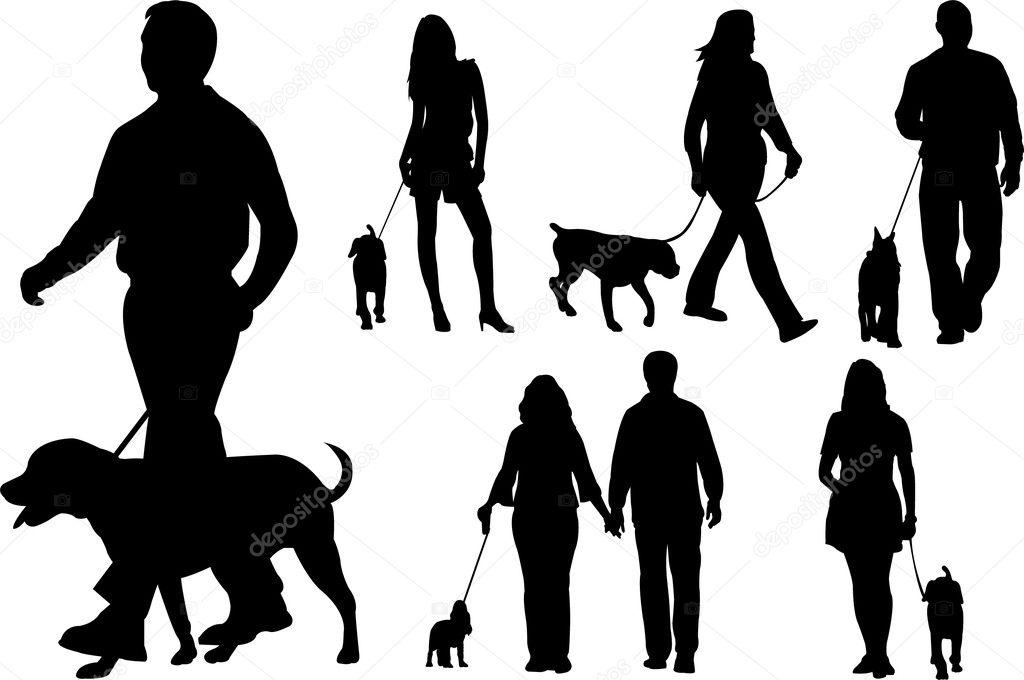 Silhouette Of Girl Walking Dog Vector