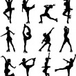 Figure skating silhouettes - Stock Vector