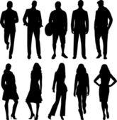 Silhouettes homme et femme — Vecteur
