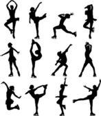 Silhouettes de patinage artistique — Vecteur