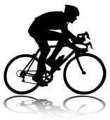 Silhouette de cycliste — Vecteur
