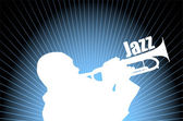 Jazz musician on the abstract background — Stockvector
