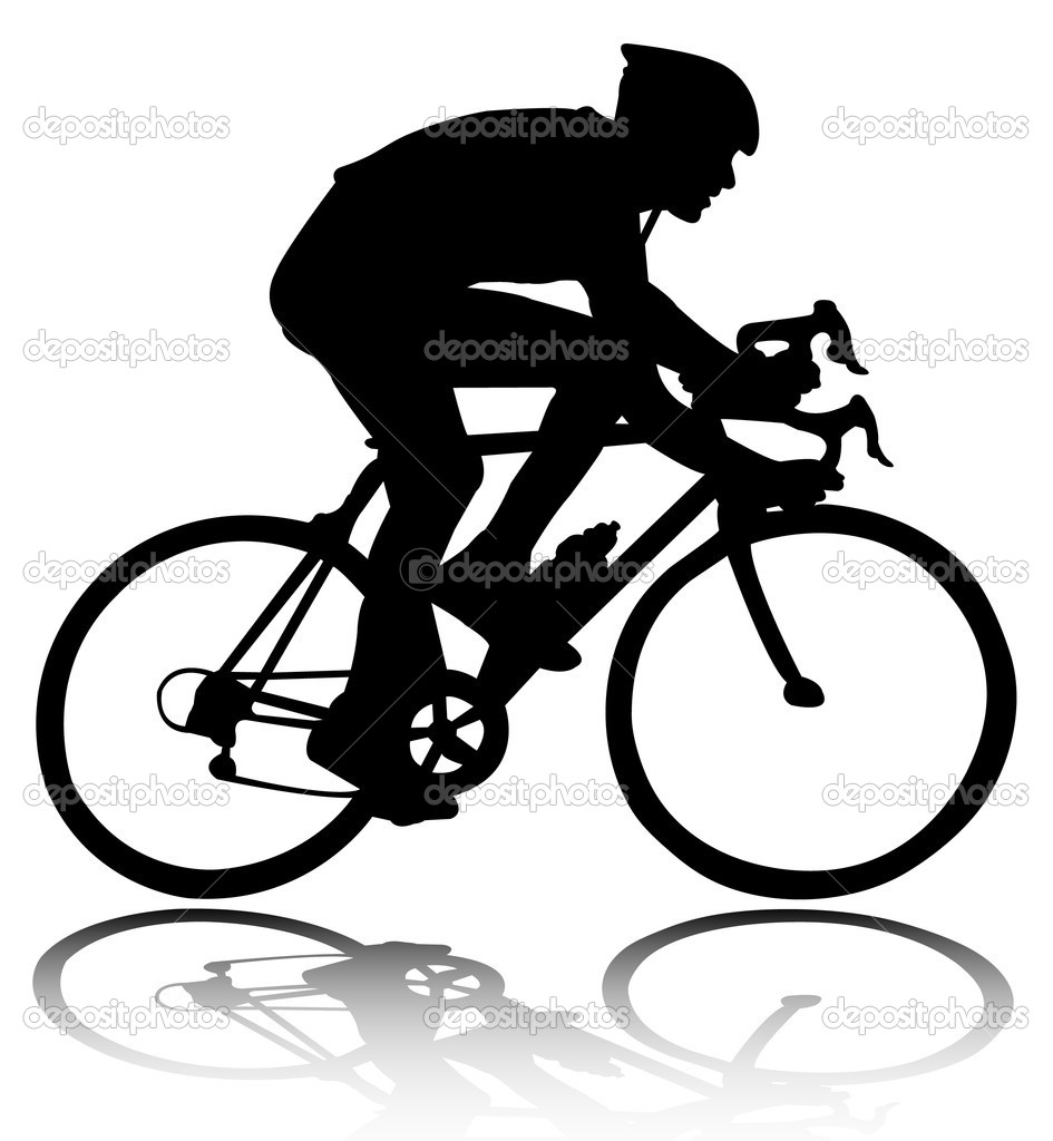 Road Bike Silhouette Bicyclist silhouette - stock
