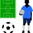 Boy in soccer uniform — Stock Vector
