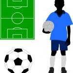 Boy in soccer uniform — Stock Vector