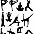Yoga poses silhouettes - Stock Vector