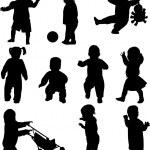 Дети силуэты — Cтоковый вектор