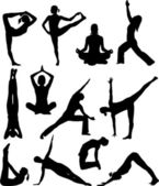 Yoga poses siluetas — Vector de stock