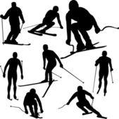 лыжник силуэты — Cтоковый вектор
