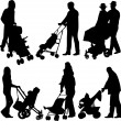 With babies in stroller — Stock Vector
