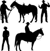 Cowboy silhouettes — Stock Vector