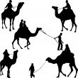 Camel riders silhouettes - Stockvectorbeeld