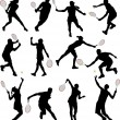 Tennis players silhouettes - Stock Vector