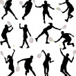 Royalty-Free Stock Vector Image: Tennis players silhouettes