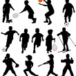 Sport kids silhouettes - Stock Vector