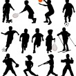 Stock Vector: Sport kids silhouettes