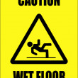 Stock Vector: Caution - wet floor sign
