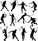 Tennis players silhouettes — Stock Vector