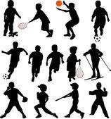 Sport enfants silhouettes — Vecteur