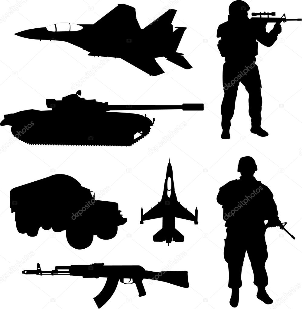 Army silhouettes — Stock Vector © nebojsa78 #2338939