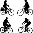 Riding bicycles - Stock Vector