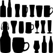 Beer bottles and glasses — Stock Vector