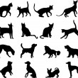 Stock Vector: Cats and dogs silhouettes