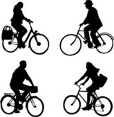 Riding bicycles — Stock Vector