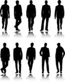 Silhouettes de mode hommes — Vecteur
