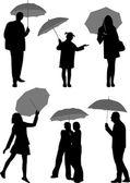 With umbrella — Stock Vector